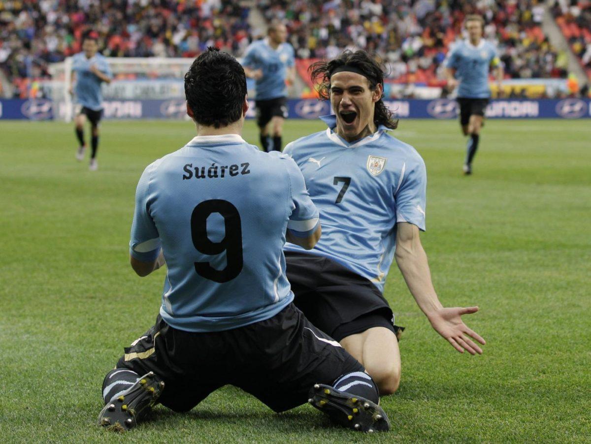 Cavani e Suarez con l'Uruguay