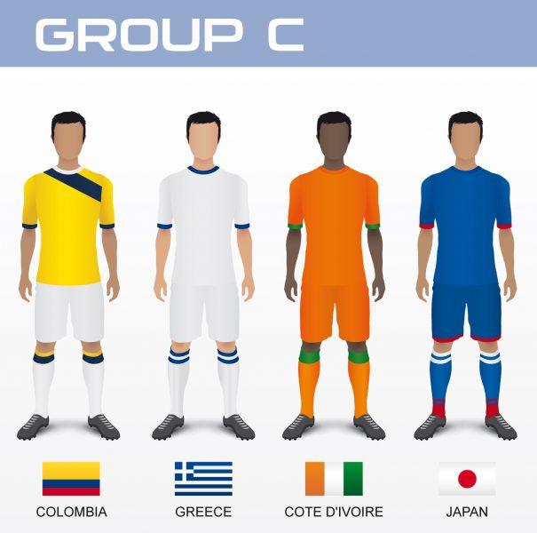 Gruppo C del Mondiale 2014 con Colombia, Grecia, Costa d'Avorio e Giappone